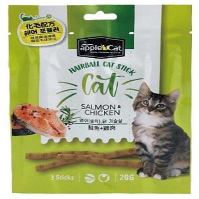 appleCat貓咪化毛點心棒20g( 鮭魚+雞肉)