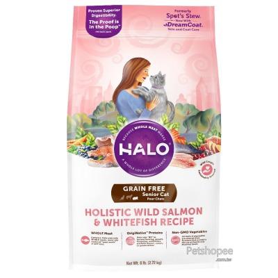 HALO 野生鮭魚燉豌豆+馬鈴薯熟齡貓燉食3磅(無穀)