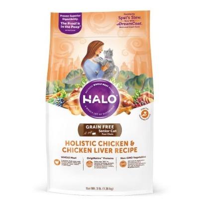 HALO 新鮮雞肉燉豌豆+馬鈴薯熟齡貓燉食3磅(無穀)