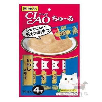 CIAO啾嚕肉泥-(鮪魚+沙丁魚)14g*4入