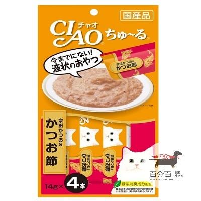 CIAO啾嚕液狀肉泥-鰹魚+柴魚片14g*4入