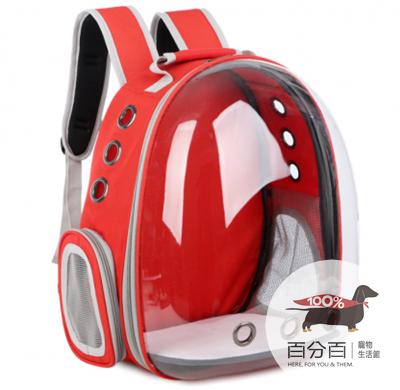 寵物太空背包-透明紅色