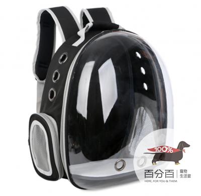 寵物太空背包-透明黑色