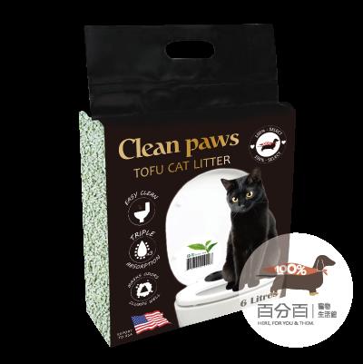Clean Paws真空豆腐砂6L-綠茶