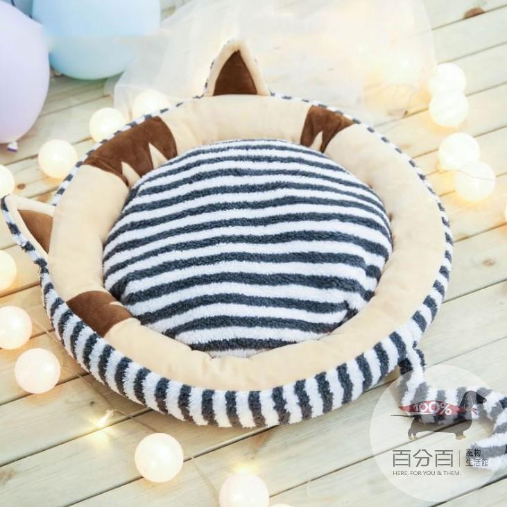 條紋貓造型睡窩-M-深灰色