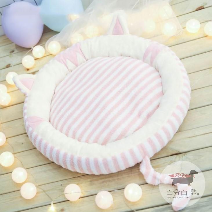 條紋貓造型睡窩-M-粉色