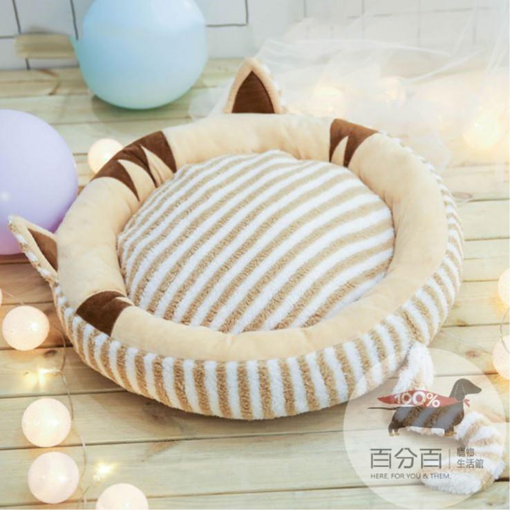條紋貓造型睡窩-M-棕色