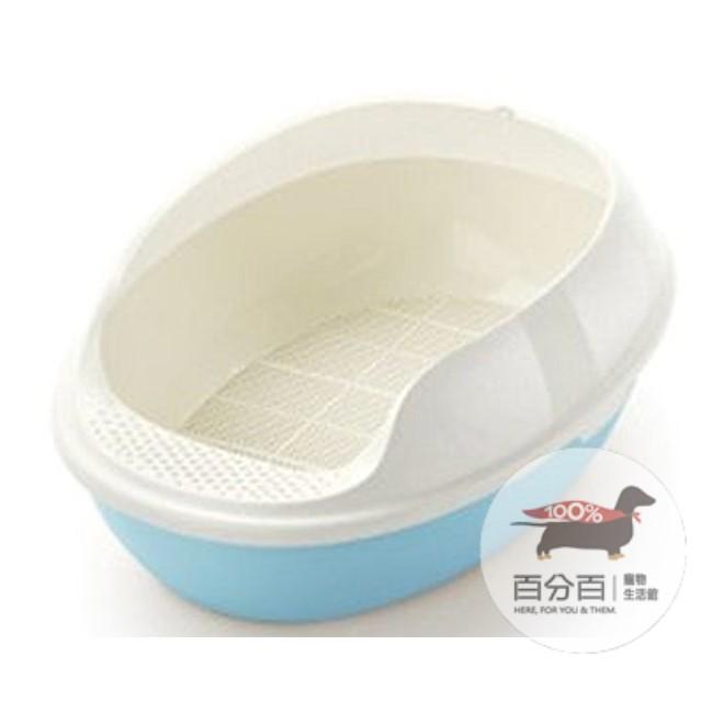 網狀橢圓形貓砂盆-藍